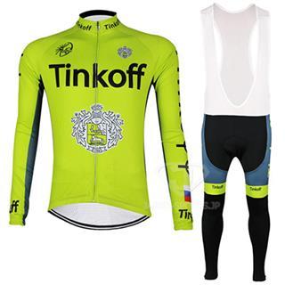 Tinkoff 2016 ティンコフ 吸汗速乾自転車ジャージ ビブタイツ セット