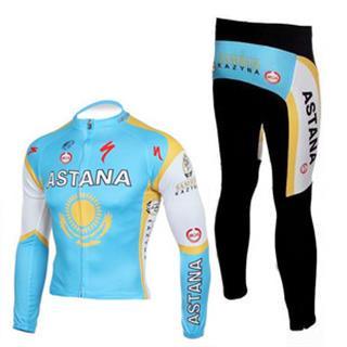 2010 Astana アスタナ サイクル春秋向け長袖ジャージセット