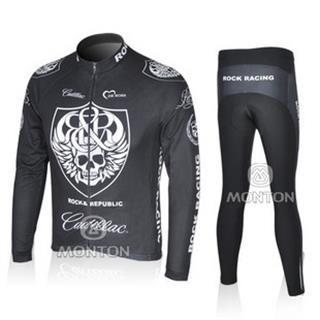 08年ROCK RACINGサイクルジャージ 長袖デザインセット ブラック
