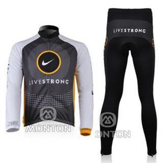 2010livestong リヴストロング サイクルジャージ秋冬兼用裏起毛長袖セット