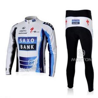 09年版レプリカ saxo bank 長袖 サイクリングウェア セット