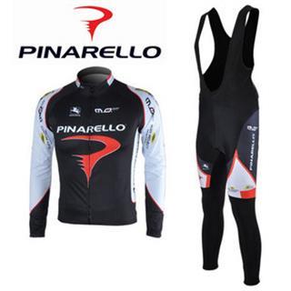 2010Pinarello 黒色ビブロングタイツ 長袖サイクルジャージセット