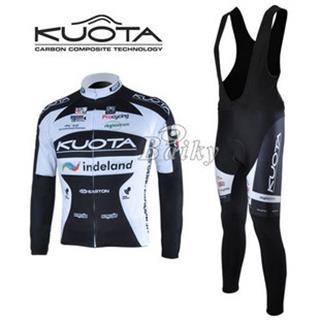 2010KUOTA サイクル黒ビブロングタイツ 長袖ジャージセット