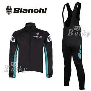 2010 Bianchi プリント 長袖サイクルジャージ 黒色 ビブロングタイツセット