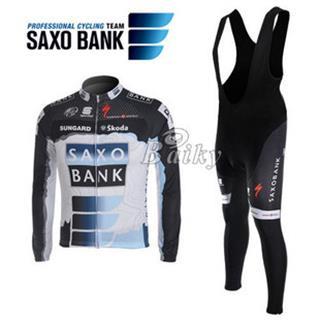 2010 Saxo Bank 裏起毛ビブロングタイツ 冬用長袖ジャージ セット