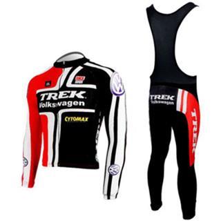 09年版TREK(赤黒) トレック 冬用裏起毛サイクルウェア 裏起毛ビブタイツ