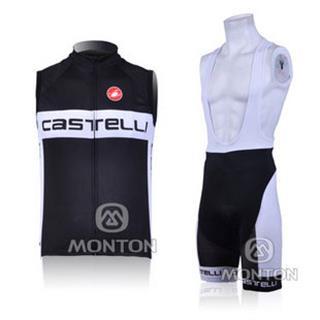 カステリ 2011年版CASTELLI(黒 白) サイクルチョッキ(ノースリーブジャージ)