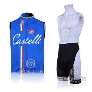 2011年版CASTELLI(ブルー) サイクルチョッキ ビブショーツ セット