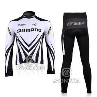 裏起毛 2010年版 SHIMANO 黒白 秋冬自転車ウェアセット シマノ