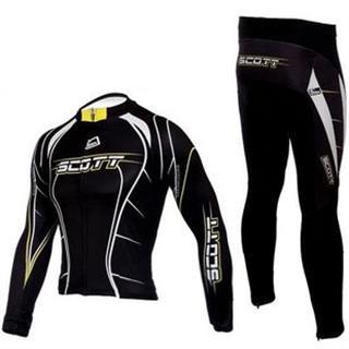 2010年版レプリカ 黒色 裏起毛 秋冬用 長袖自転車ウェア セット