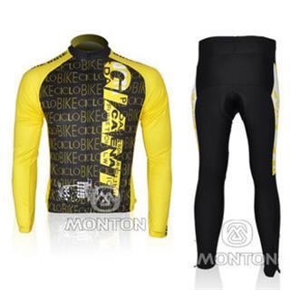 2010年版 黄色ジャイアント 秋冬兼用自転車ウェア GIANT 裏起毛