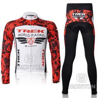 2011年版 赤白 TREK WORLD RACING 冬用自転車ロードレースウェア