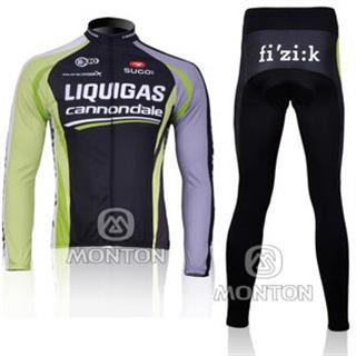 裏起毛 LIQUIGAS 黒色 2011年版 リクイガス冬用ロードレースウェア 上下セット