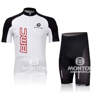 2011年 白色 BMC 夏用サイクルジャージ じてんしゃレーサーパンツ セット