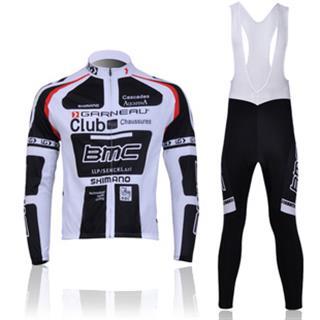 2011年 BMC 黒白 ビブタイツ プリント長袖サイクルジャージ セット