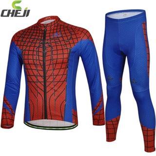 CHEJIヒーローシリーズ 速乾長袖サイクルウェアセット(スパイダーマン)
