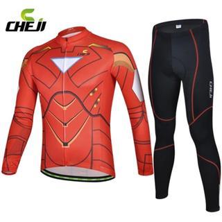 CHEJIヒーローシリーズ 速乾長袖サイクリングウェアセット(アイアンマン)