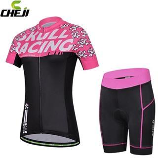 CHEJI レディース 春夏用自転車ウェア (Skull Racing)