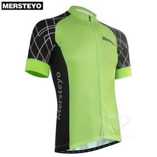 MERSTEYO グリーン grid グリッド フラットシームで縫い目半袖ジャージ