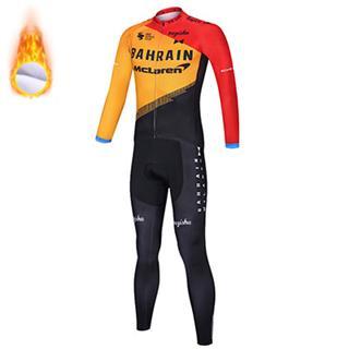 2020年版 バーレーン マクラーレン 冬用 自転車ジャージ サイクリングウェア 上下セット 長袖 保温 裏起毛