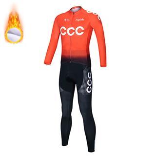 2020年仕様 CCCチーム 冬用 サイクリングジャージ 自転車ウェア 上下セット ロードバイク 長袖 防寒  裏起毛